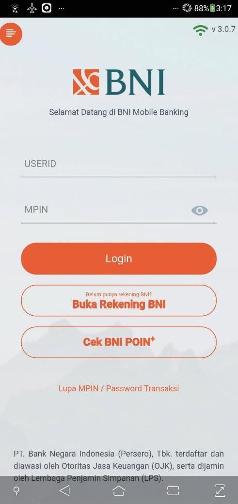 インドネシア銀行のモバイルアプリ